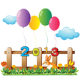 Four colorful balloons near the wooden fence with vector image vector image