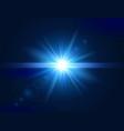 glowing light effect blue lens flare glare light vector image