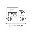 goods receipt pixel perfect linear icon logistics vector image