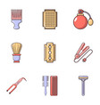 hairdressing icons set flat style vector image