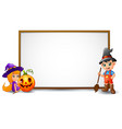 halloween sign with witch boy and pumpkin vector image vector image