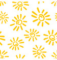 hand drawn sun icon seamless pattern background vector image vector image
