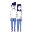 happy couple together with casual clothes vector image