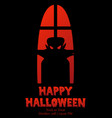 happy halloween window silhouette vampire shadow vector image vector image