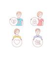 heart break up and wedding locker icons couple vector image