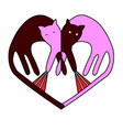 heart the symbol of spring cat fights vector image
