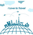 i love to travel earth plane background ima vector image vector image