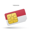 Indonesia mobile phone sim card with flag vector image vector image