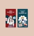 instagram template design with world photography vector image vector image