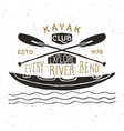 kayak and canoe vintage label hand drawn sketch vector image vector image