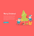 merry christmas web banner two elves in blue suits vector image vector image