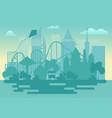 modern amusement park silhouette landscape vector image vector image