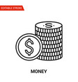 money icon thin line vector image