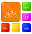 muscular man with tattoo icons set color vector image vector image