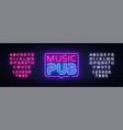 music pub neon sign live design vector image