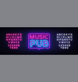 music pub neon sign live music design vector image vector image