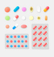 pharmasy colorful pills blisters with tablet vector image vector image