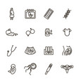 pregnancy signs black thin line icon set vector image vector image