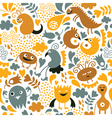 Seamless pattern with cute monster vector image