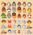 set of cute animal sticker vector image vector image