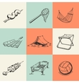 Set of different camping icons vector image vector image