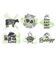 set vintage grill emblems logos and vector image vector image