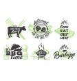 set vintage grill emblems logos vector image vector image