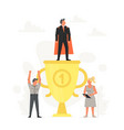 successful and young businessman on podium little vector image vector image