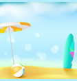 sunny beach with golden sand and blue sky summer vector image