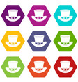 top hat with buckle icon set color hexahedron vector image vector image