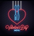 valentines day neon menu heart a fork and knife vector image