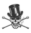 vintage monochrome gentleman skull smoking cigar vector image vector image