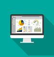 web statistics analytic charts on computer screen vector image vector image