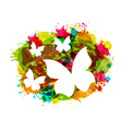 White Butterflies on Colorful Grunge Texture vector image vector image