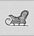 winter sled sleigh sticker ornate vector image vector image