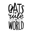 with cat silhouette little kitty paw heart vector image