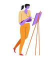 woman painting on canvas and easel isolated vector image vector image