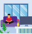 young man seated on armchair seeing tv vector image