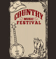 country music festival poster template cowboy hat vector image