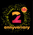 2 year anniversary template design vector image