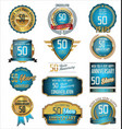 anniversary blue and gold labels 50 years