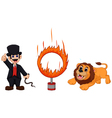 attractions of lion cartoon jumping into fire vector image vector image