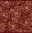 beige outline roses on the burgundy background vector image vector image