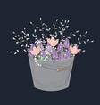 bouquet spring doodle flowers in grey bucket vector image vector image