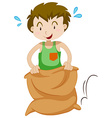 Boy in the sack jumping vector image