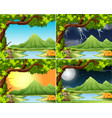 camping in different weather scene vector image vector image