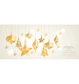 Christmas Holiday hanging baubles banner vector image vector image
