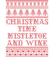 christmas time mistletoe and wine pattern vector image vector image