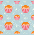 color seamless pattern of delicious cupcakes on a vector image vector image
