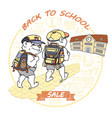 cute bear with rucksack back to school sale vector image vector image